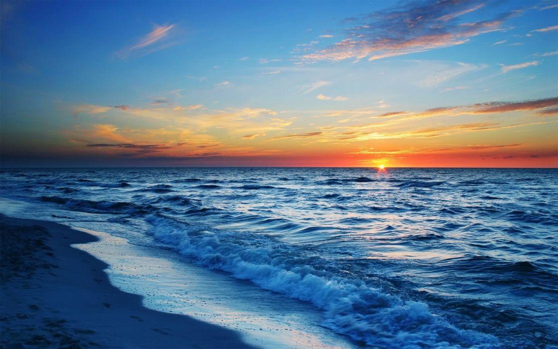 Sunset ocean beach sea waves wallpaper