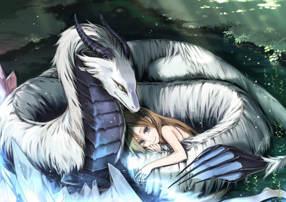 Women dragons fantasy art anime wallpaper