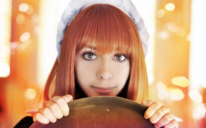 Women eyes cosplay maids redheads faces portraits wallpaper