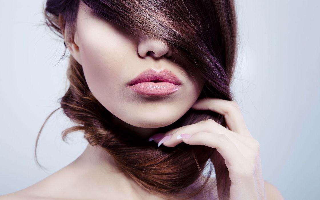 Brunettes women lips wallpaper