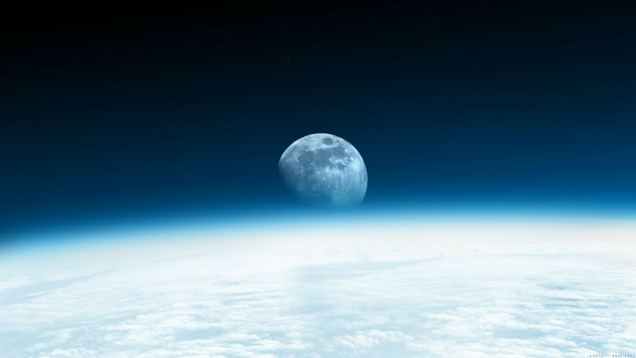 Outer space moon rise wallpaper