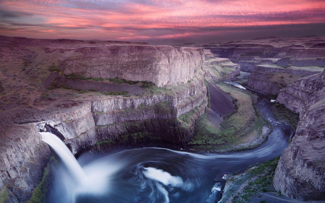 Mountains landscapes nature waterfalls washington wallpaper