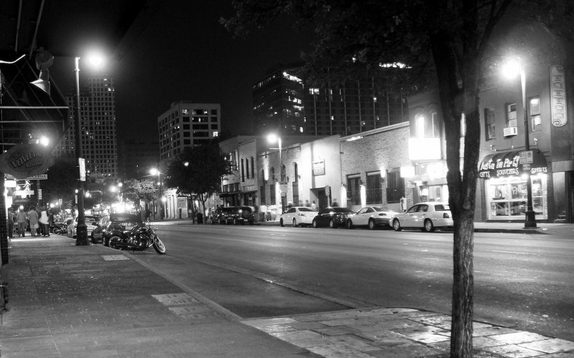 Streets night buildings bikes grayscale monochrome cities wallpaper