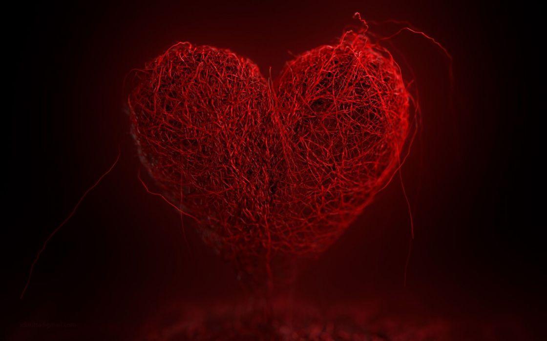 Love digital art hearts wallpaper
