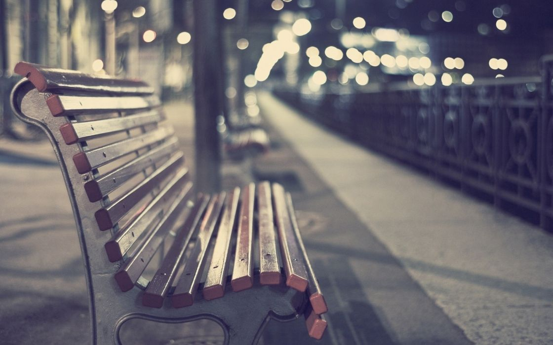 Cityscapes bench depth of field wallpaper