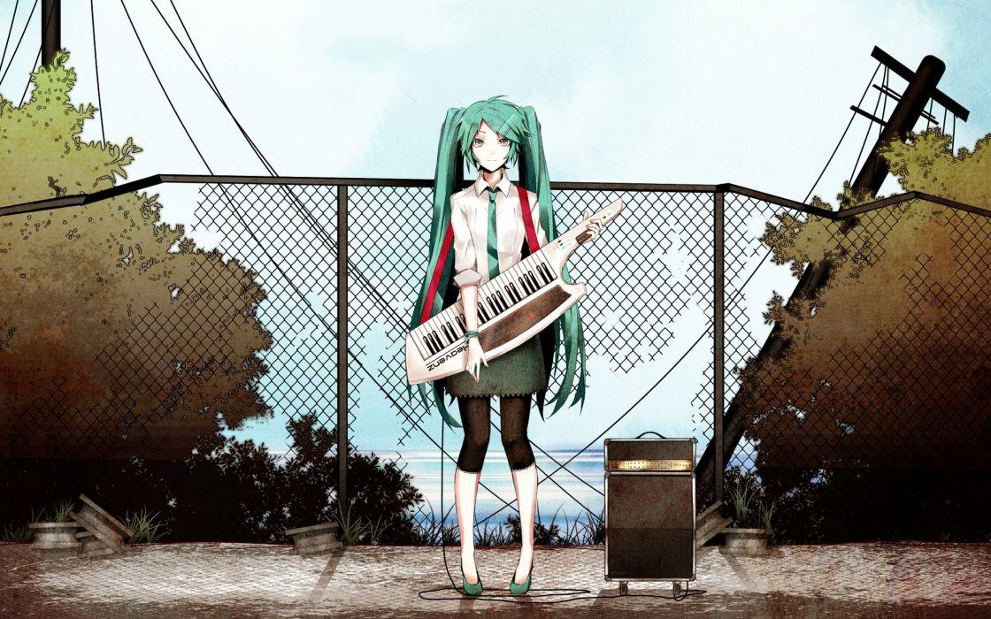 Music vocaloid hatsune miku tie long hair twintails aqua hair anime girls wallpaper