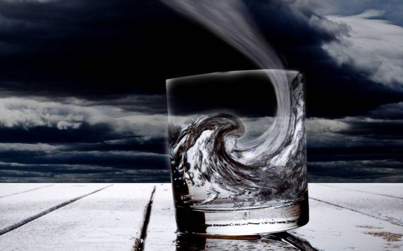 Waves glass digital art wallpaper