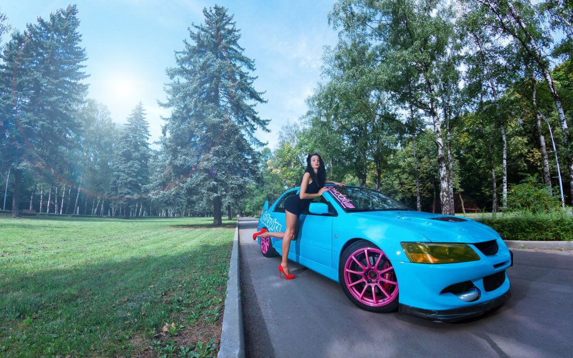 Women nature tuning blue cars wallpaper