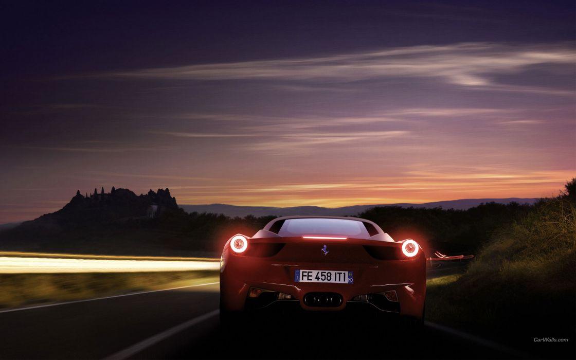 Cars ferrari ferrari 458 italia lights on rear view ferrari 458 wallpaper