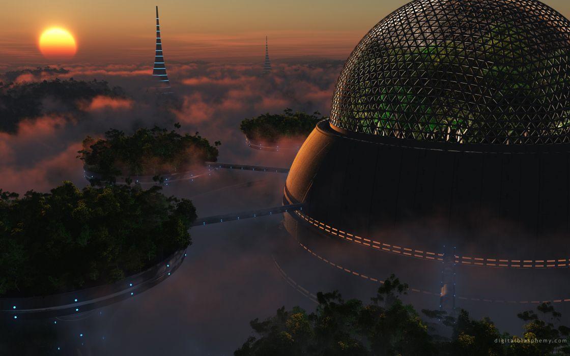 Futuristic fantasy art science fiction wallpaper
