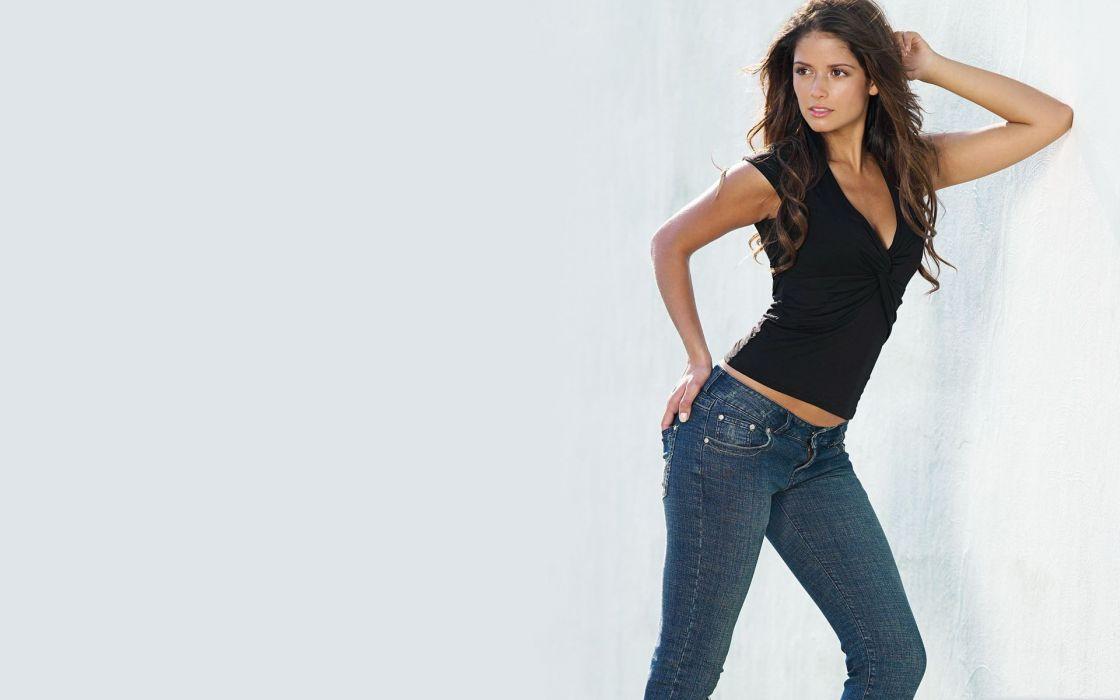 Brunettes women jeans carla ossa wallpaper