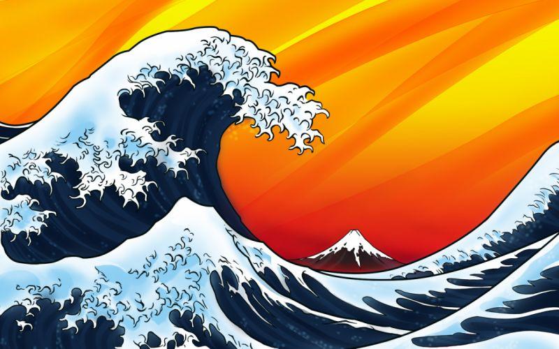 The great wave off kanagawa katsushika hokusai wallpaper