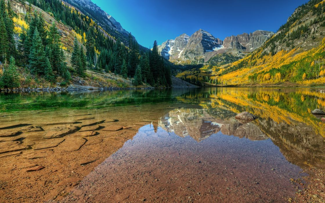 Mountains landscapes autumn lakes skyscapes wallpaper