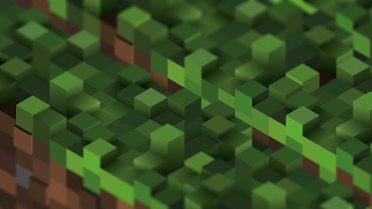 Video games grass minecraft cubes wallpaper