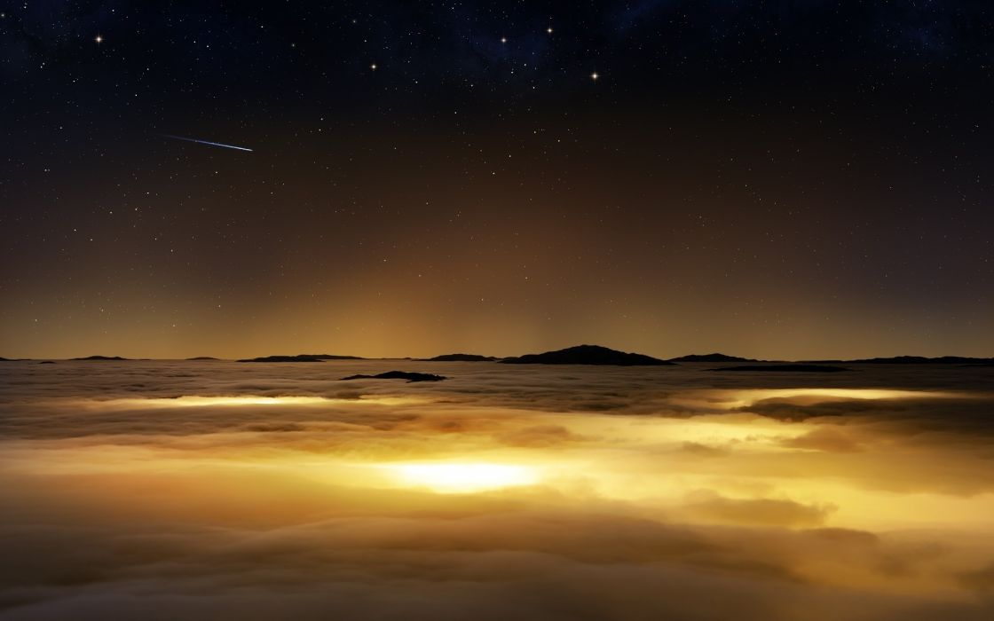 Clouds nature stars orbit skyscapes photomanipulations wallpaper
