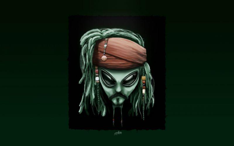 Alienware johnny depp digital art artwork alien captain jack sparrow wallpaper