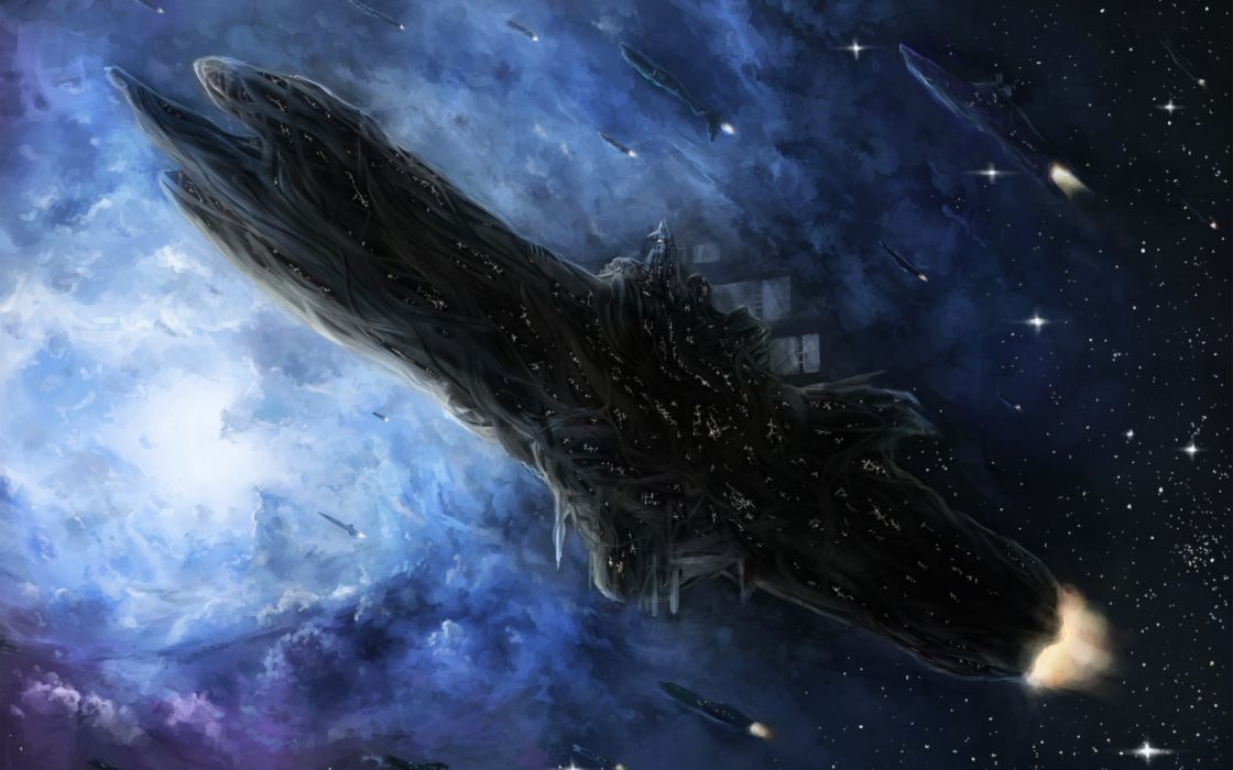 Outer space futuristic spaceships artwork vehicles wallpaper