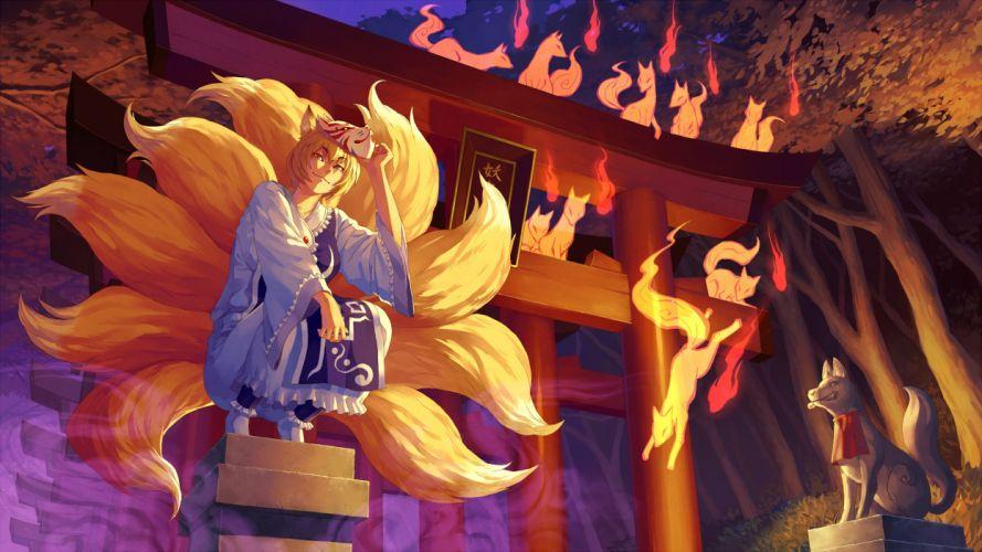 Blondes tails video games touhou dress fire animal ears spirit gate short hair yellow eyes sacred kitsune squatting torii yakumo ran golden eyes white dress fox girl tabard foxes wallpaper