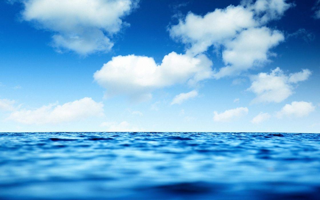 Water ocean sea blue skies wallpaper