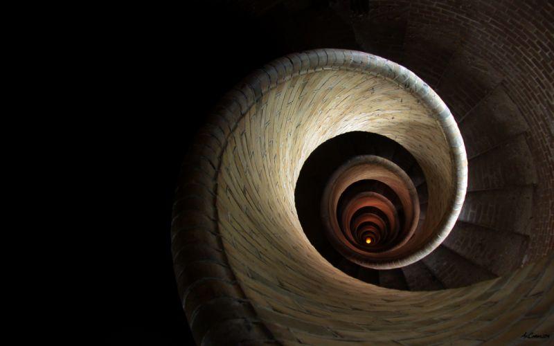 Spiral stairways wallpaper