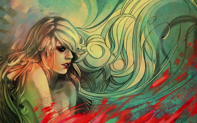Women long hair sketches artwork samkaat wallpaper