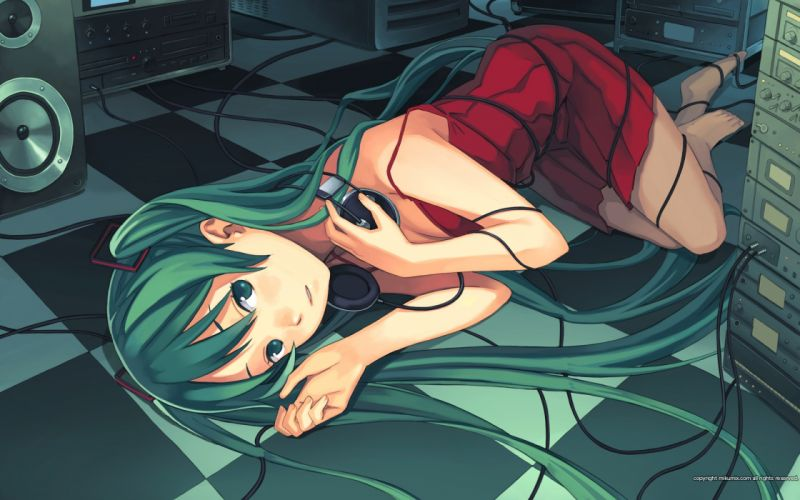 Headphones music vocaloid dress hatsune miku long hair speakers green eyes green hair twintails red dress lying down wires cables wallpaper