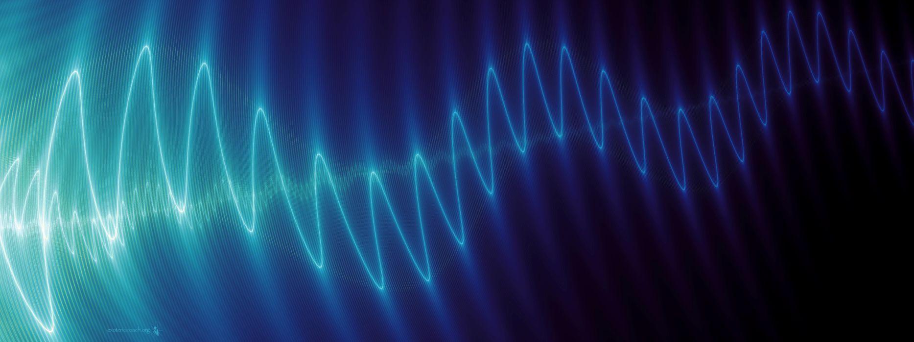 Light abstract waves fractals dual screen sound blatte wallpaper