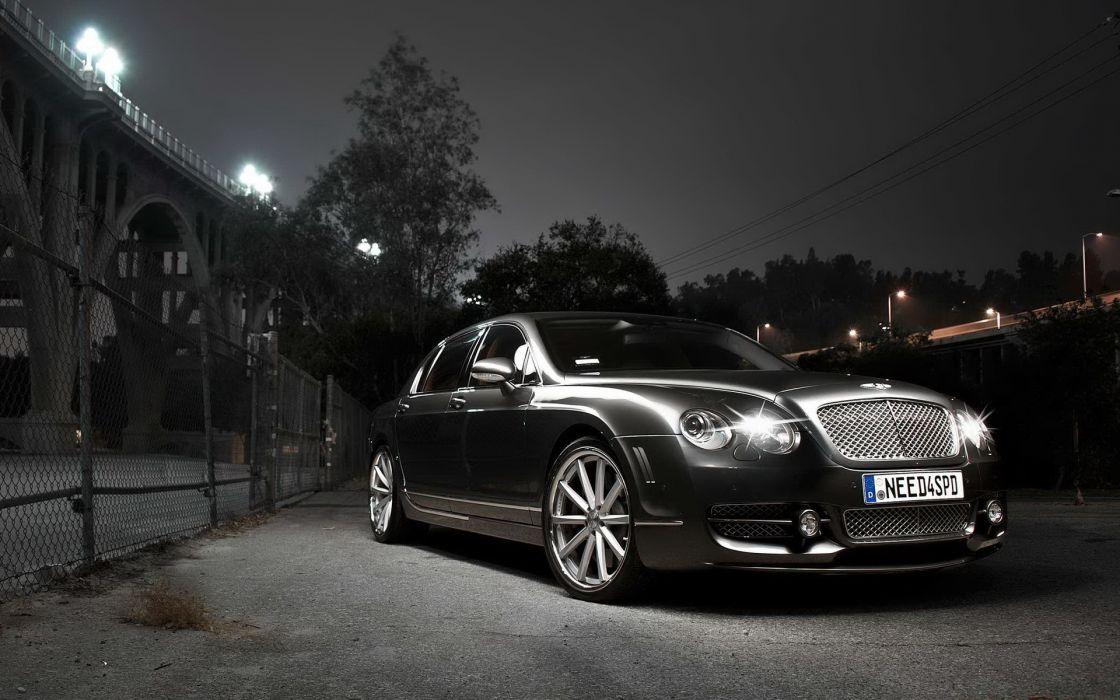 Black cars bentley continental flying spur lights on wallpaper