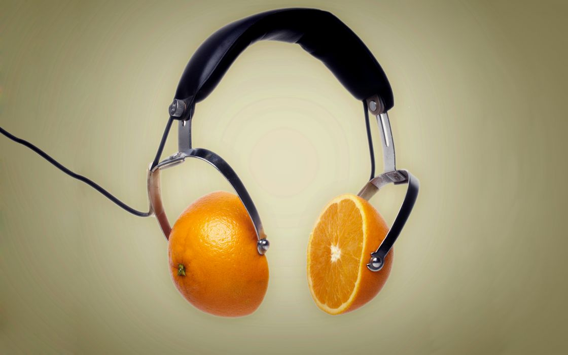 Headphones oranges wallpaper