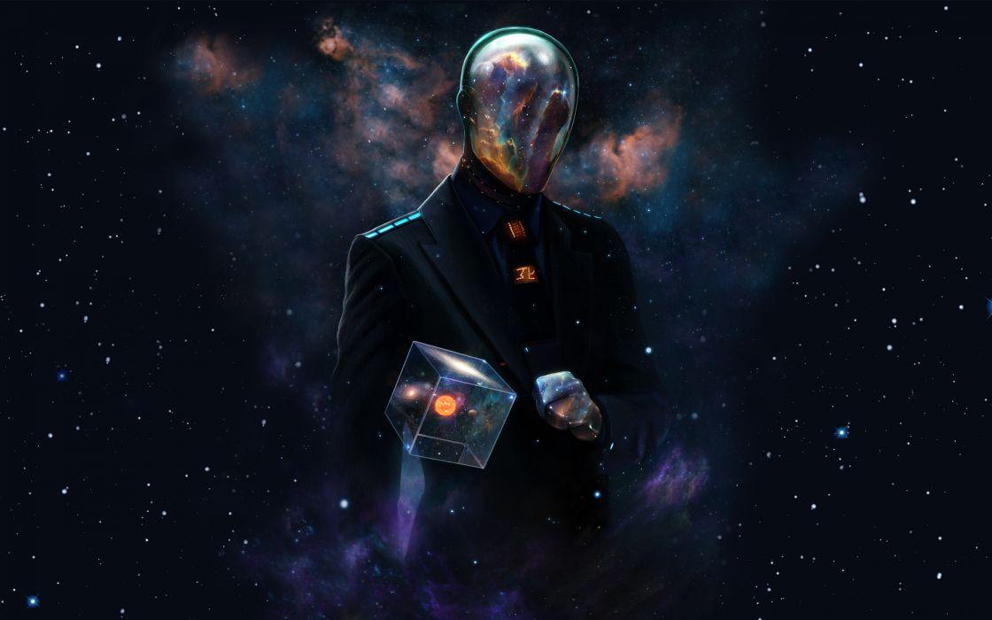 Outer space futuristic galaxies suit spaceman artwork alien wallpaper