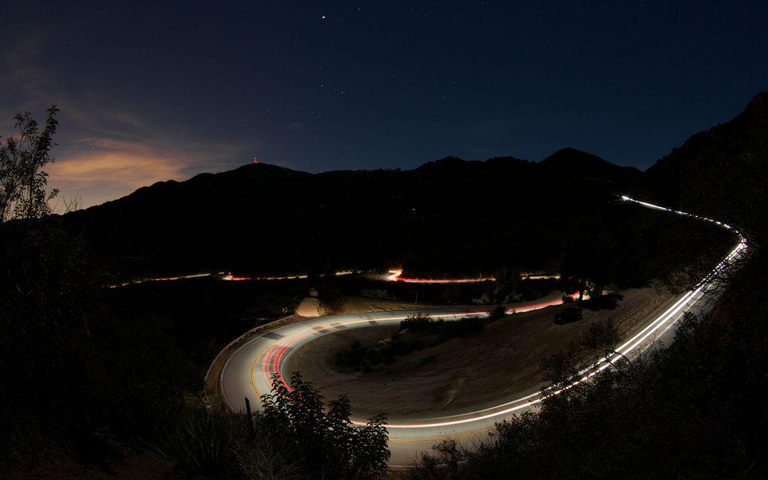 Landscapes night stars roads wallpaper