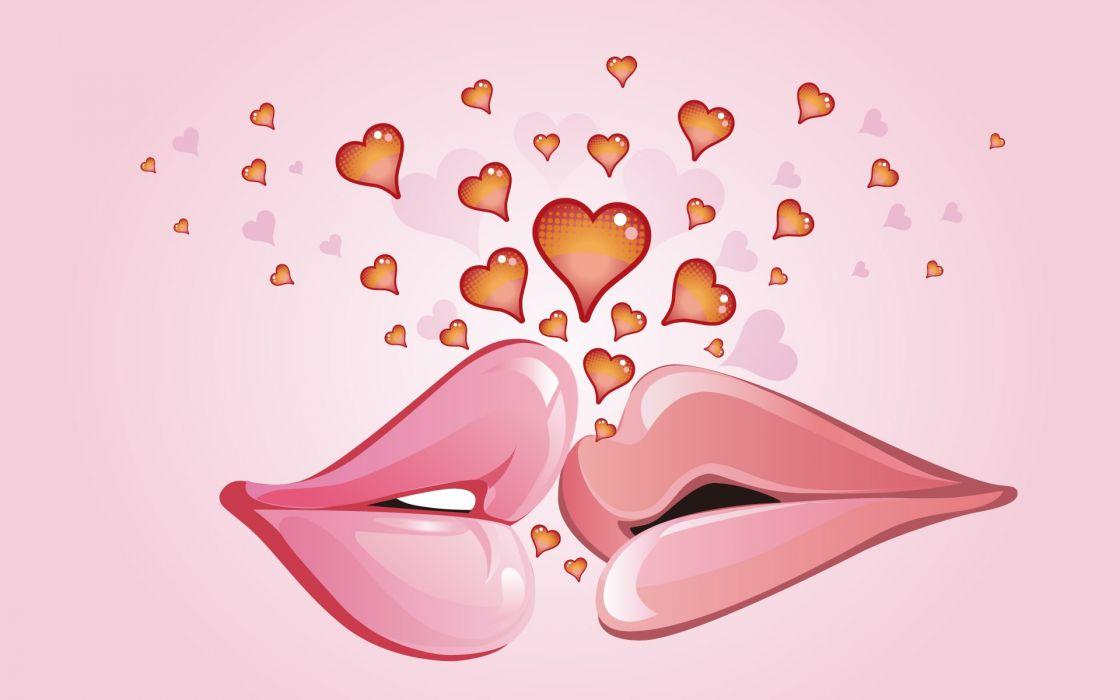 Lips kissing wallpaper