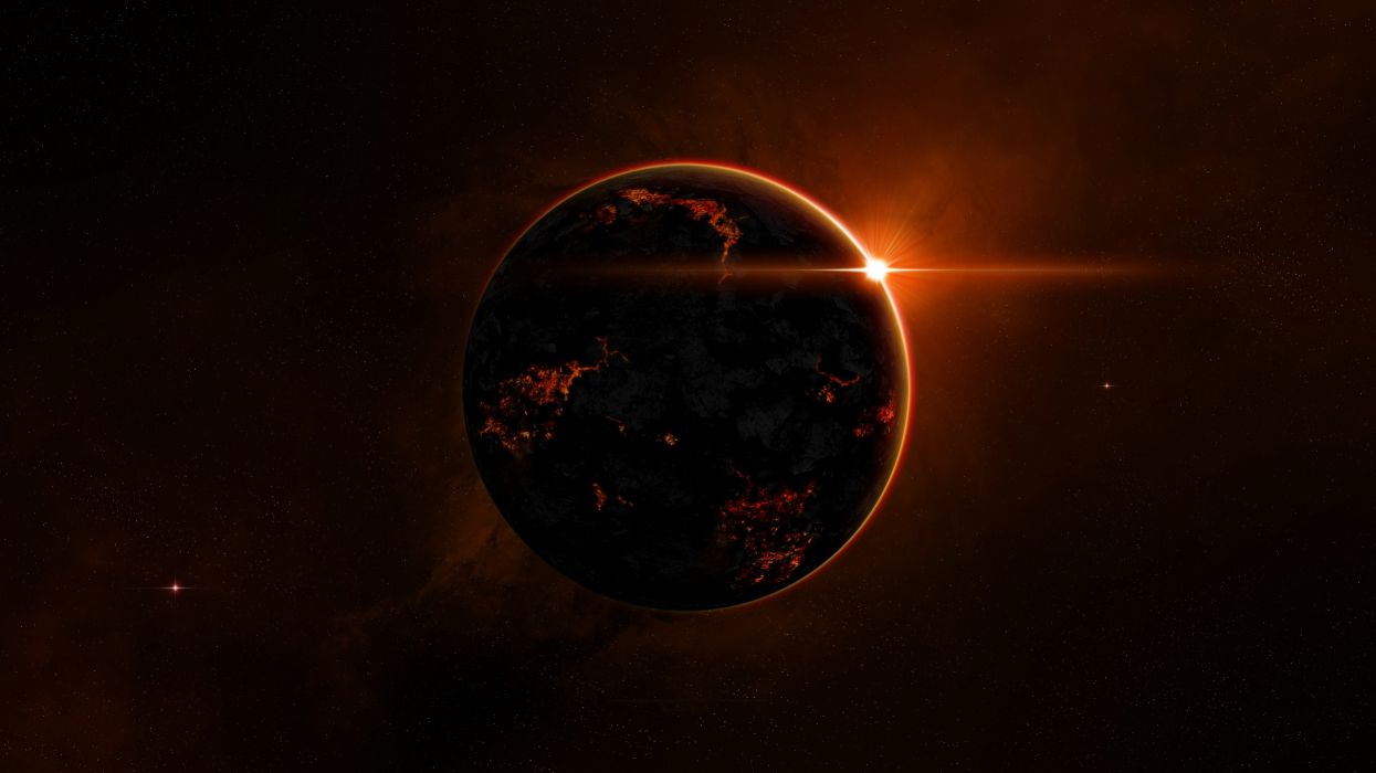 Outer space stars planets fire fantasy art wallpaper