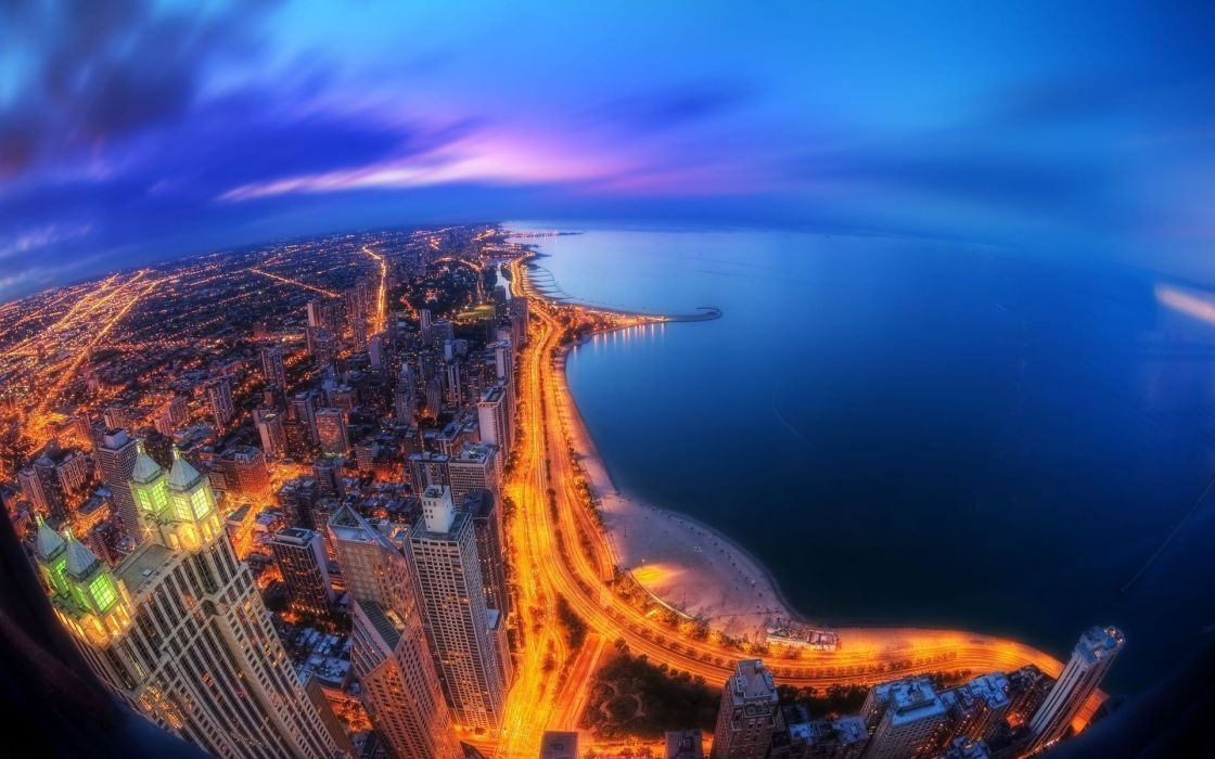 Cityscapes fisheye effect wallpaper