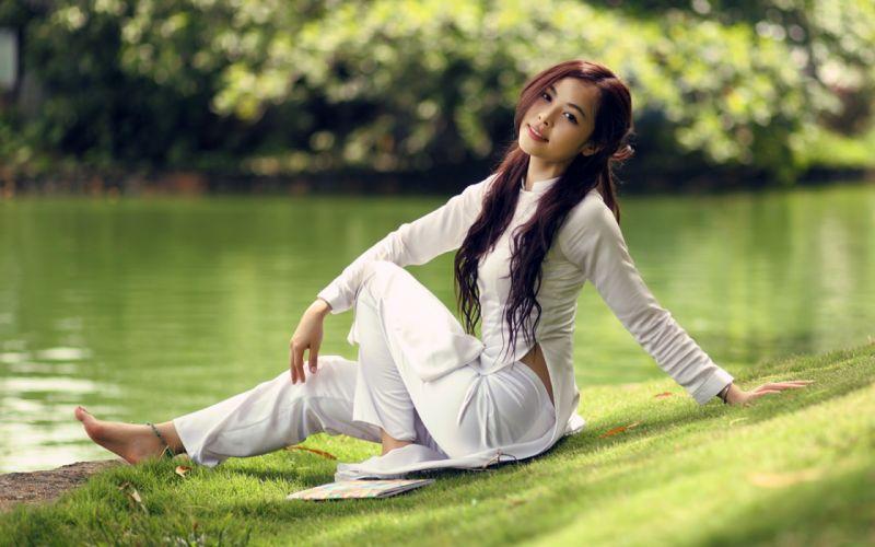 Women viet nam asians depth of field cure girl wallpaper