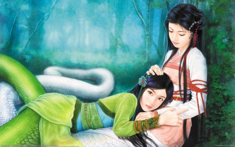 Women fantasy snakes asians artwork wallpaper