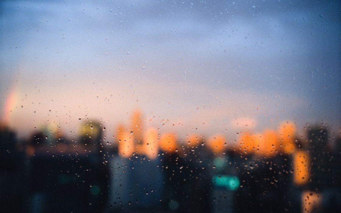 Cityscapes rain focus window panes wallpaper