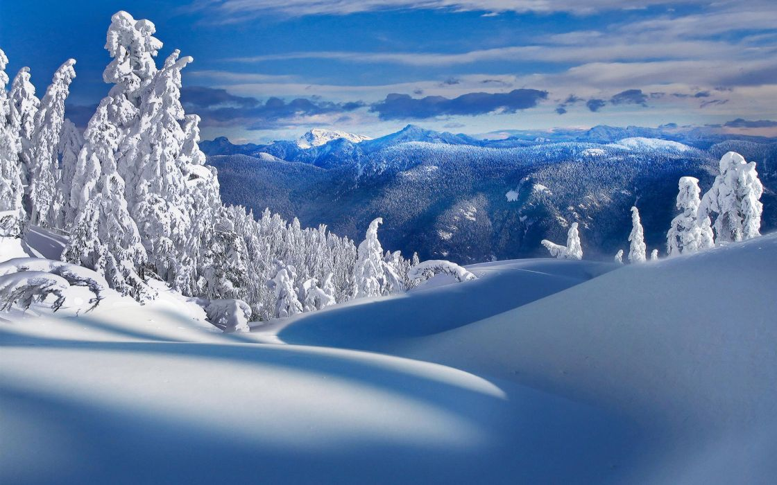 Mountains nature winter snow trees wallpaper