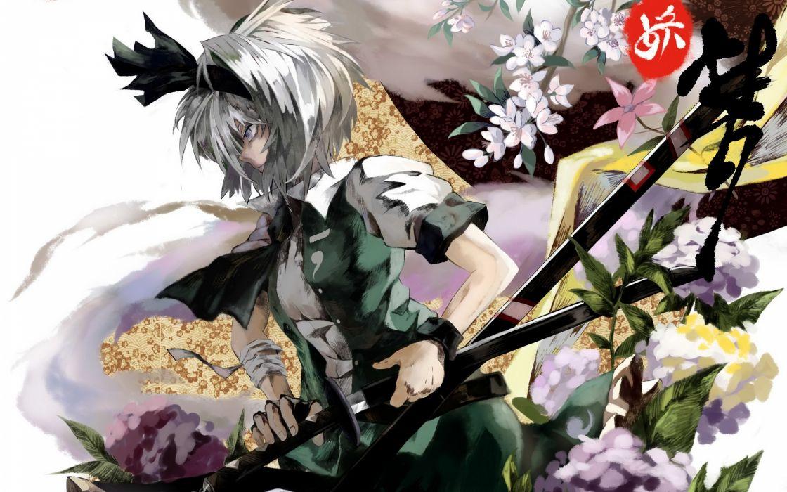 Video games touhou dress flowers text katana japanese weapons blossoms plants konpaku youmu short hair gray eyes bandages gray hair green dress hair band swords hair ornaments wallpaper
