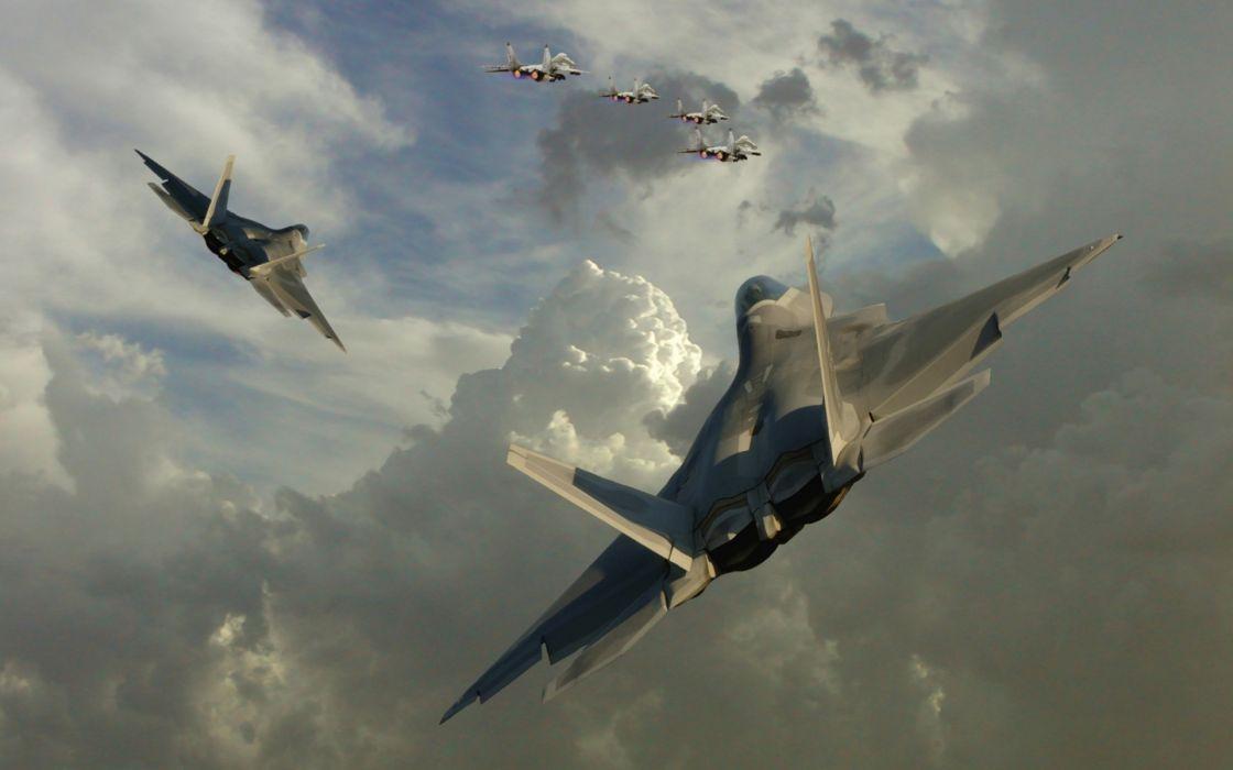 22 Raptor jet aircraft formation wallpaper
