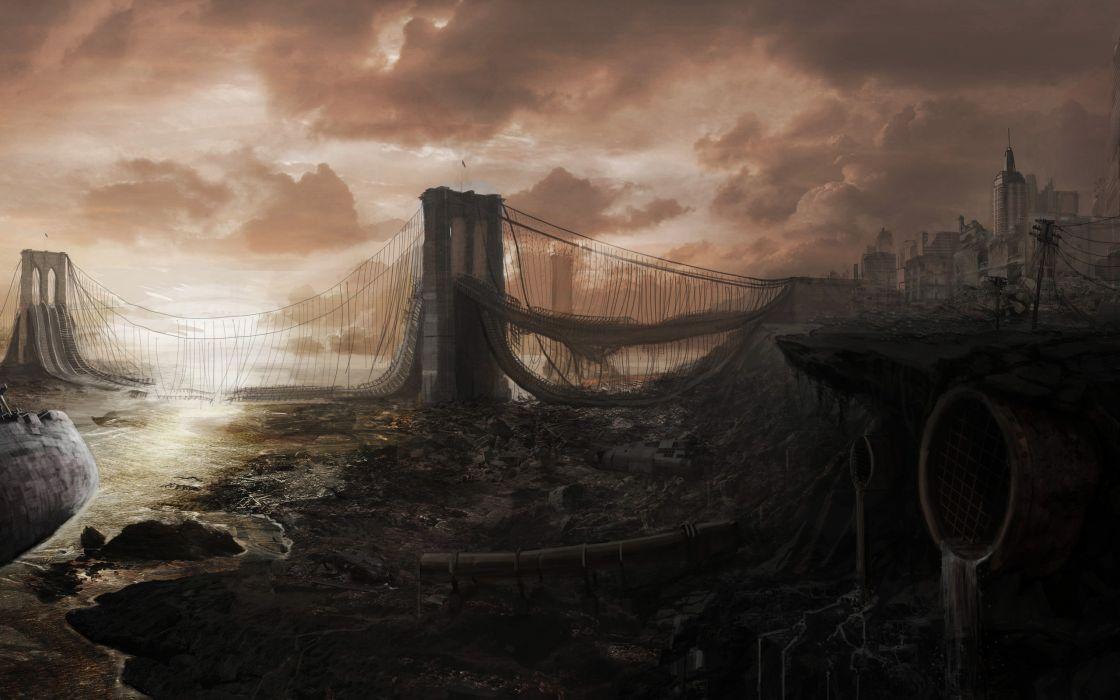Apocalyptic brooklyn bridge apocalypse artwork wallpaper