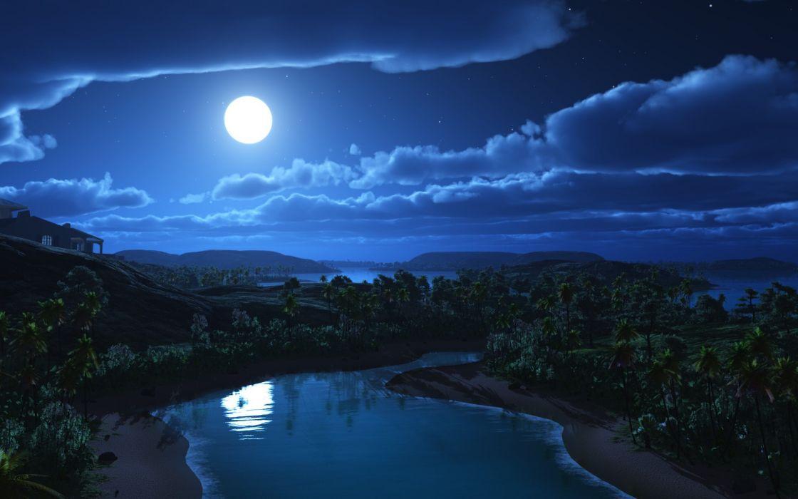 Nature moon glow wallpaper