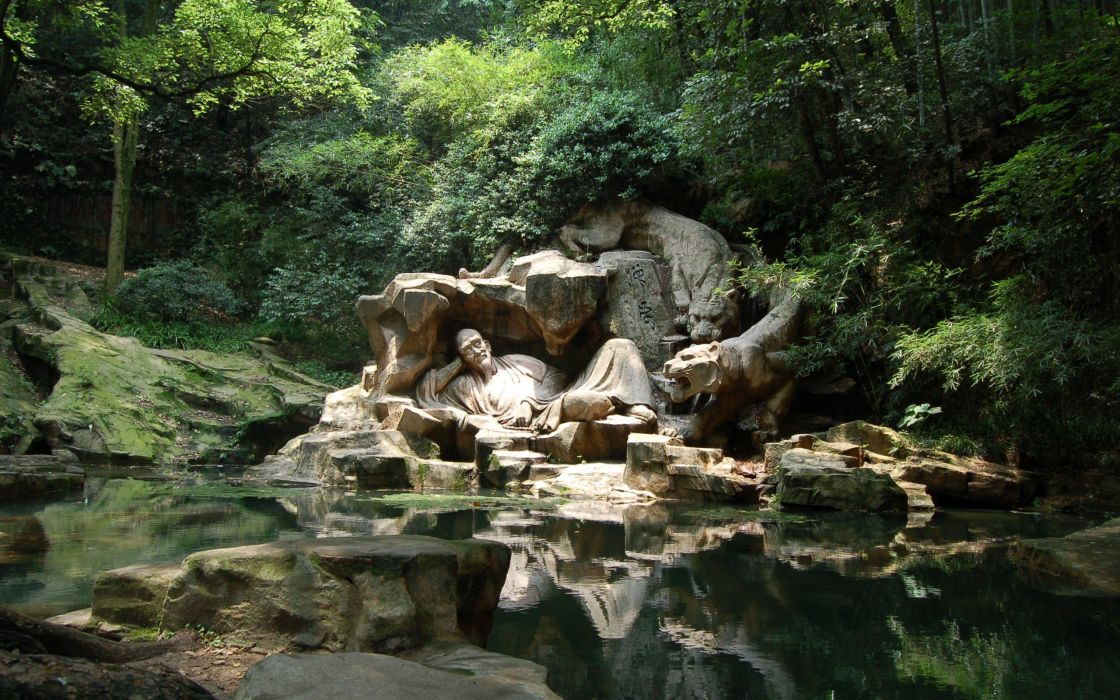 Forest sculpture streams lakes wallpaper