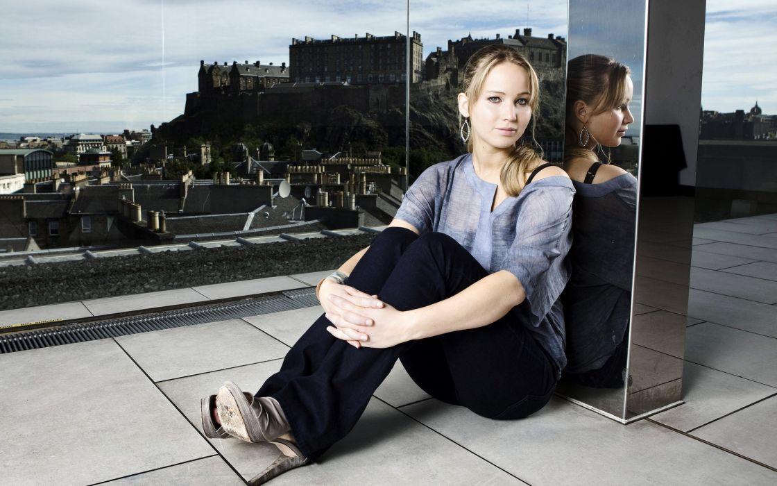 Brunettes women actress jennifer lawrence edinburgh castle wallpaper