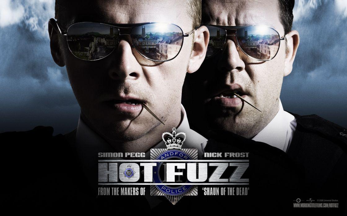Movies sunglasses hot fuzz simon pegg nick frost reflections wallpaper