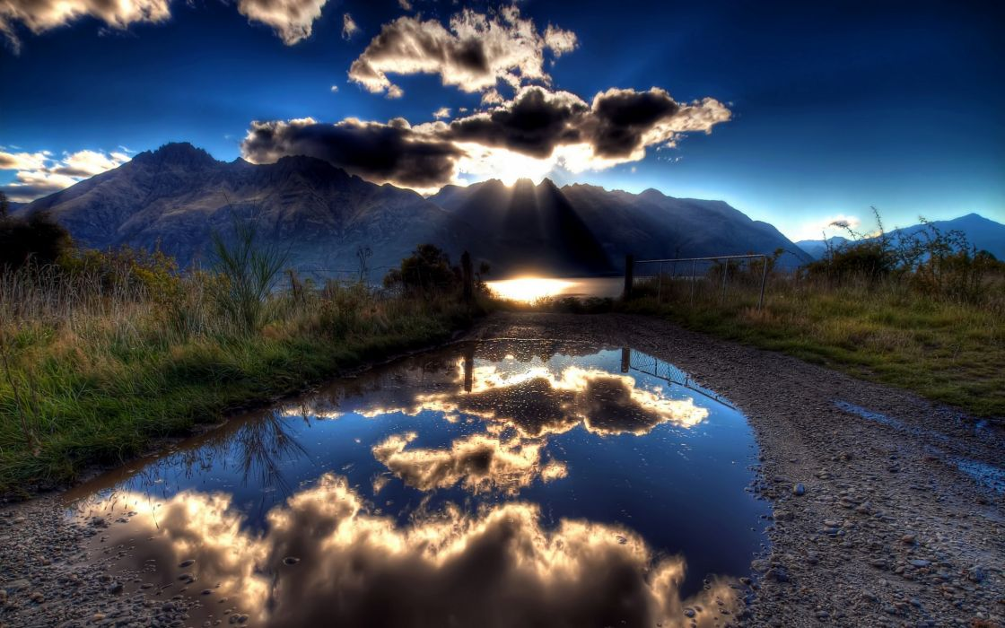 Mountains clouds landscapes nature hdr photography reflections wallpaper