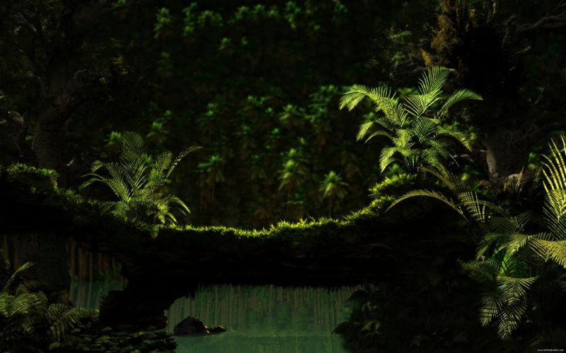 Green jungle dreams moss wallpaper