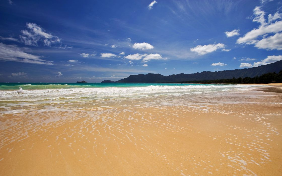 Ocean clouds nature beach waves skyscapes wallpaper