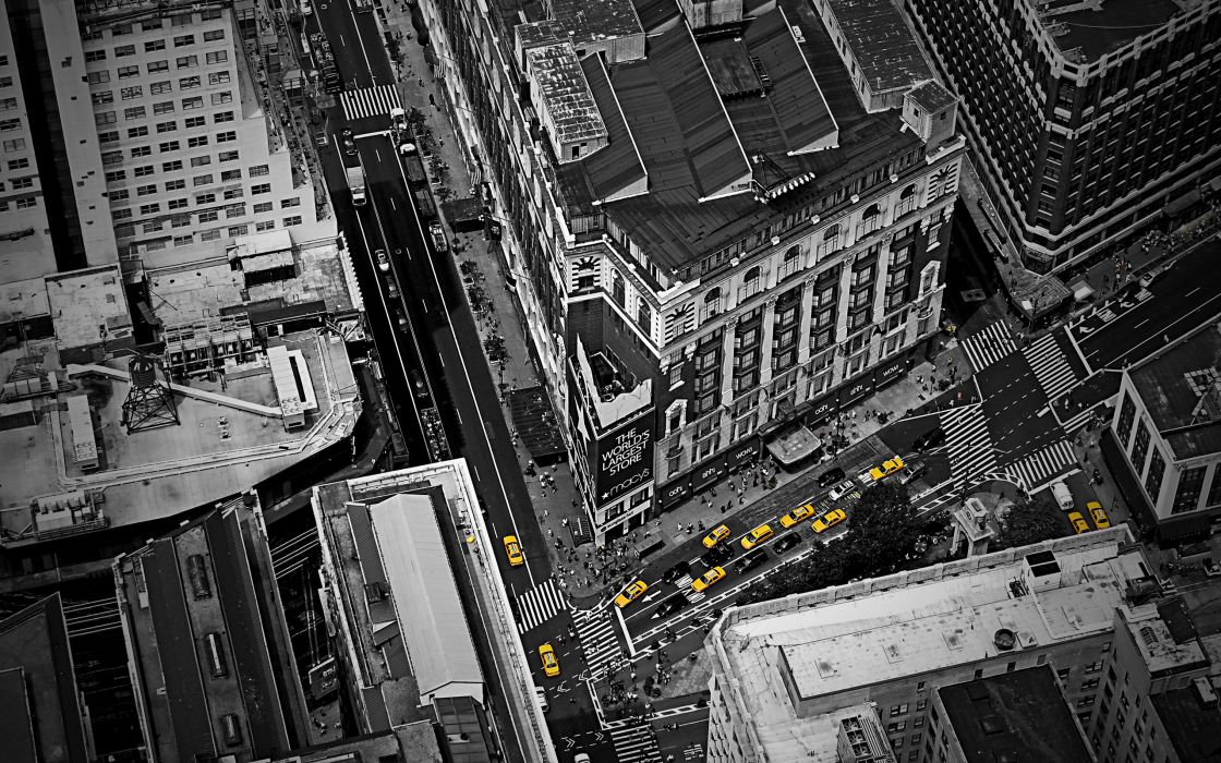 Cityscapes architecture people buildings taxi birds eye selective coloring wallpaper
