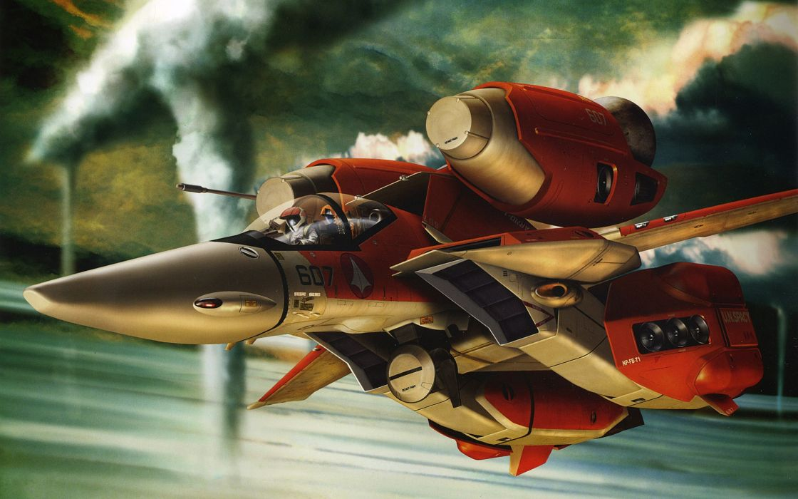 Aircraft macross mecha artwork wallpaper